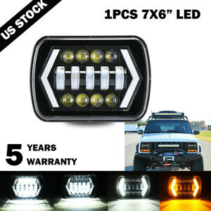 "120W 7x6 5X7"" LED Projector Headlight HiLo Beam Halo DRL For Jeep Cherokee Truck"
