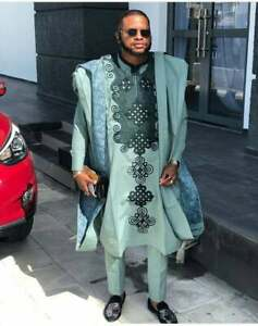 African Agbad  set, matching shirt and pant/African clothing / African men cloth