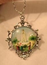 Filigree Maltese Blue Accented Our Lady of Fatima Silvertone Pendant Necklace
