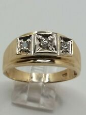 Mens 10k Solid Yellow Gold .30tcw Natural 3mm Diamonds Vintage Ring Size 11.75