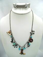 Western clip on silver chain multi colored western boot necklace & earrings set