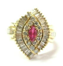 Ruby & Diamond Ring 14Kt Yellow Gold WIDE 1.40Ct
