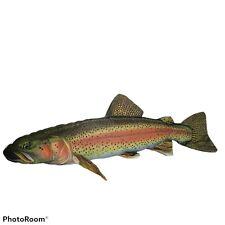"Rainbow Trout Fish Fishing Pillow 29"" Large Decorative Stuffed Animal Plush"