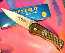 Meyerco USA Blackie Collins Free Hand knife 154CM blade button lock, pocket clip