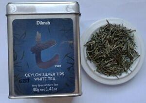 Ceylon Dilmah Silver Tips / White Tea In Tin Caddy Loose Leaf 40g  t Series