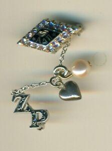 Alpha Delta Pi sorority white gold aquamarine gems with dangles! - Vanderbilt!