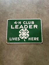 "Original 4-H Club Member Lives Here Tin Sign 10"" X 14"" Green & White sealed"
