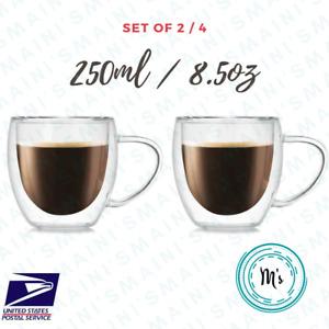 Double Wall Insulated Glass Coffee Cup 250ML/8.5 OZ Mug Latte Tea Set of 2 H