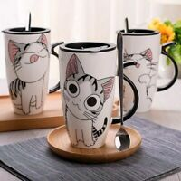 Creative Cat Ceramic Mug Cup Lid Spoon Cartoon Milk Coffee Tea Cup Porcelain Mug