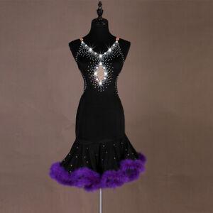 Latin Dance Dress Salsa Tango Cha cha Ballroom Rhinestone Competition Dress 445