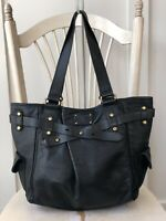 FOSSIL ADRINA Extra Lg Black Leather Shopper Tote Shoulder Bag Handbag Carry All