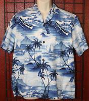 ROYAL CREATIONS Hawaiian Aloha Camp Shirt Size Large Tiki Outriggers Palm Trees