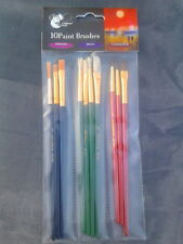 10 mixed artists paint brushes. chiltern arts for acrylic, oils + watercolours