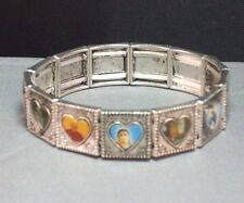 Christian Prayer Bracelet Silver Tone Facings Holy Images Hearts LOW STOCK!