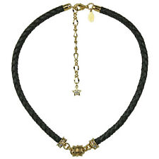 KIRKS FOLLY BRAIDED BLACK LEATHER MAGNETIC INTERCHANGEABLE NECKLACE  GOLDTONE