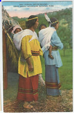 """vintage """"colorized"""" native american indian Postcard, great smokey mtns beautiful"""