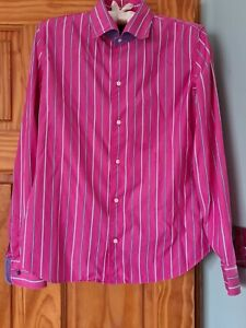 Ralf lauren ladies pink stripe fitted shirt long sleeves  100% cotton size 8