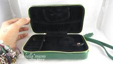 Genuine PANDORA Travel JEWELRY Green Leather CHRISTMAS GIFT CASE Rings/Bracelet