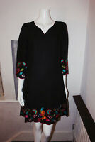 East Black Floral V Neck 3/4 Sleeves Linen Cotton Tunic Summer Shift Midi Dress