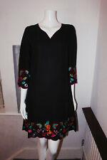 East Black Floral V Neck 3/4 Sleeves Linen Cotton Tunic Summer Shift Midi Dress