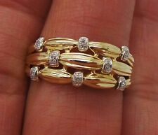 STUNNING 14K YG LADIES DIAMOND BAND RING .08 tcw SZ 10.25  A9468-1  4.23 grams