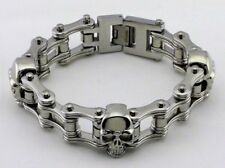 Mens Stainless Steel Skulls Motorcycle Bike Chain Biker Bracelet Silver