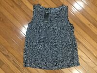 NWT Jones New York Sleeveless BLUE Polka Dot Blouse Top Pleated Neck  Sz L  New
