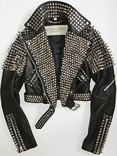 $4995  Burberry Brit Black Leather Studded Spiked Biker Moto Jacket US 6 IT 40