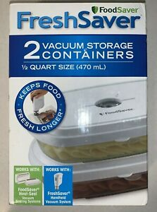 2 Pack Food Saver Fresh Saver 2 Vacuum Storage Containers 1/2 Quart Size New