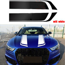 Pair Car White Racing stripe Sport Hood Decals Vinyl Auto Bonnet stickers