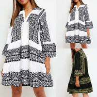 ZANZEA Women Bell Sleeve Bohemian Long Shirt Dress Floral Print Beach Mini Dress