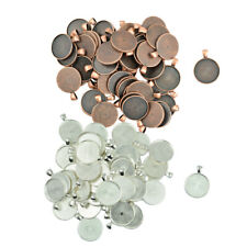 100pcs Metal Connector Pendant Round Tray Blank Bezel Setting DIY Jewelry