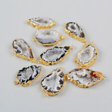 Wholesale 5Pcs Natural Agate Druzy Geode Slice Connector Gold Plated HOT BG0952