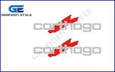 2 Stück  CARTHAGO - Wohnwagen Aufkleber - Sticker - Decal - Farbe Silber / Rot !