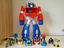 "Large Big Opens Transformers Preschool Optimus Prime 22"" Figure w/ 9 Figures Lot"