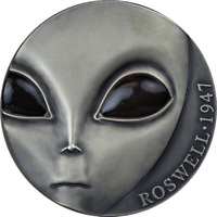 70th Ann of Roswell Incident UFO Antique finish Silver Coin 3000Fr Cameroon 2017