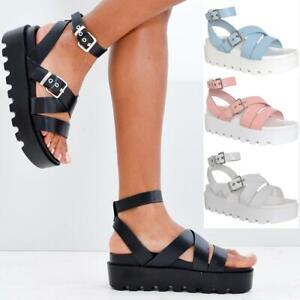 Ladies Womens Flatform Summer Ankle Strap Sandals Chunky Platform Fashion Shoes