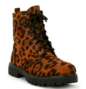 WOMENS LADIES LEOPARD STUDDED ANKLE LACE UP / ZIP LADIES COMFORT BOOTS SHOES 3-8