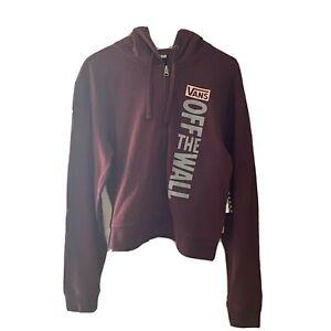 Vans Zip Up Hoodie Sidewall Stamp Maroon Burgundy Women's S Small New Sweatshirt