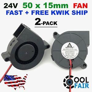 24V DC 50mm Blower Cooling Fan 5015 Hotend Extruder For RepRap 3D Printer 2 Pcs