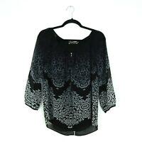Mint Velvet Size 8 Black Grey White Patterned Boho Blouse Top 1/2 Zip Slit Back