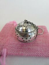 New ListingClassic American Art Deco Sterling Silver Tea Ball Infuser & Pouch, c1900