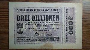 THREE TRILLION MARK 1923 Notgeld Inflation GUTSCHEIN BUER DREI BILLIONEN