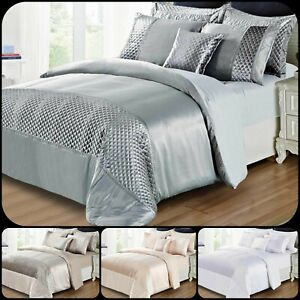 New 3Piece Satin & Crushed Velvet Duvet Quilt Cover With Pillowcase Bedding Set