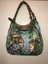 New Anuschka Hand-Painted Animals Leather Triple Compartment Handbag/Purse