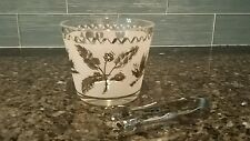 Vintage Mad Men Style Glass Ice Bucket - chrome and frosted white w/tongs