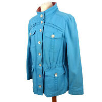 Per Una M&S Size 16 Bright Blue Safari Style Cotton Jacket Summer Holiday Casual