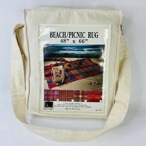 """Cotton Beach Picnic Rug Throw Fringed Blanket Canvas Bag 48"""" x 66"""" Made in India"""