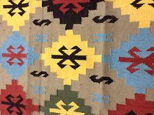 """Om Vintage Indian 100% Woolen Thread Woven Multicolour Carpet Size-96"""" / 60"""" C17"""