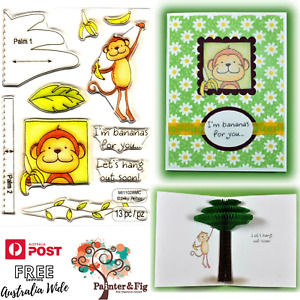 Monkey Stamps & Honeycomb Paper, Bananas for You, Love, Friends, Inky Antics